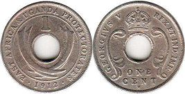 EAST AFRICA & UGANDA 1 cent GEORGIVS V