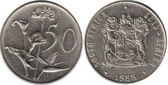 ЮАР 50 центов - South Africa 50 cents 1988
