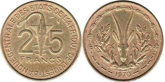 West African States 25 francs 1970