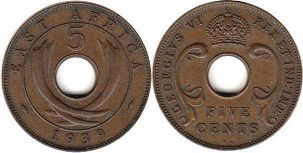 BRITISH EAST AFRICA 5 cents GEORGIVS VI