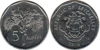 Seychelles 5 rupees 2010