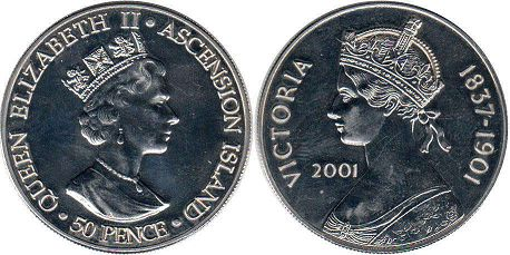 Остров Вознесения (Асенсьон) 50 пенсов - Ascension Island 50 pence 2001
