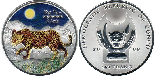 Конго 240 франков большая африканская пятёрка - Congo 240 francs 2008 BIG FIVE AFRICA