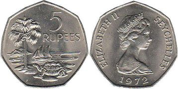 Seychelles 5 rupees 1972