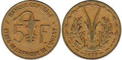 West African States 5 francs 1977
