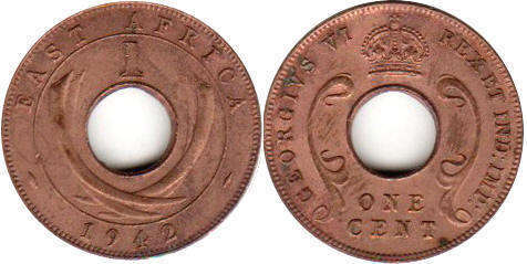 Британская Восточная Африка 1 цент - BRITISH EAST AFRICA 1 cent GEORGIVS VI