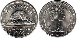 Канада 5 центов - Canada 5 cents 1989