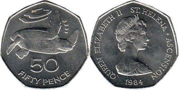 Saint Helena and Ascension 50 pence 1984