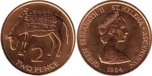 Saint Helena and Ascension 2 pence 1984