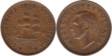 South Africa 1 penny 1952