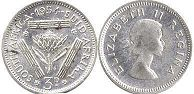 South Africa 3 pence 1954