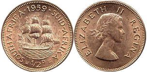 South Africa 1/2 penny 1959