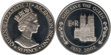 Остров Вознесения (Асенсьон) 50 пенсов - Ascension Island 50 pence 2002