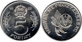 монета Венгрия 5 форинтов 1983