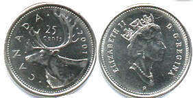 Канада 25 центов - Canada 25 cents 2001
