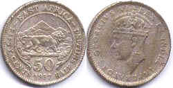 BRITISH EAST AFRICA 50 cents GEORGIVS VI
