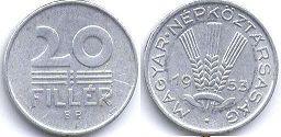 монета Венгрия 20 филлеров 1953