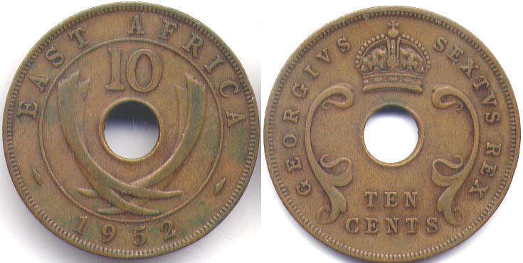 Британская Восточная Африка 10 центов - BRITISH EAST AFRICA 10 cents GEORGIVS VI
