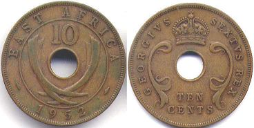 BRITISH EAST AFRICA 10 cents GEORGIVS VI