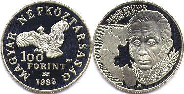 монета Венгрия 100 форинтов 1983