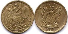 ЮАР 20 центов - South Africa 20 cents 1997