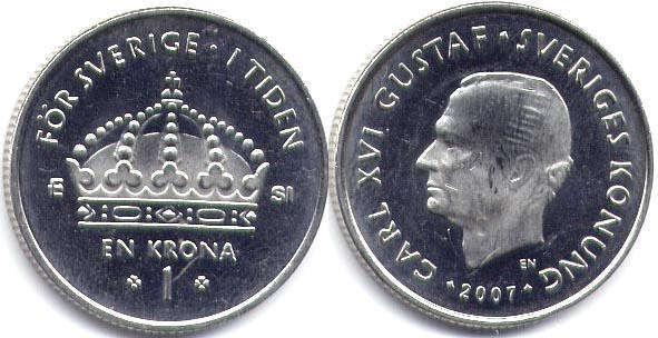 Монета швеция 1 крона 1973 года, km# 826a, 100-016