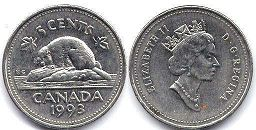 Канада 5 центов - Canada 5 cents 1993