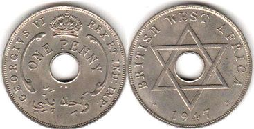 ONE PENNY BRITHSH WEST AFRICA GEORGIVS VI