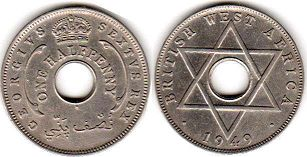 ONE HALF PENNY BRITHSH WEST AFRICA GEORGIVS VI
