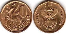 ЮАР 20 центов - South Africa 20 cents 2004